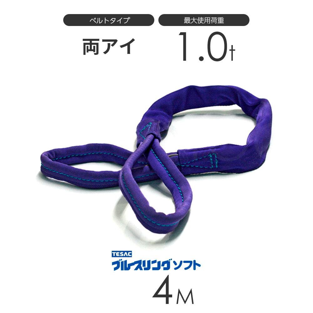 日本製 テザック:TESAC ソフトスリングベルト 日本 受注生産 ブルースリング ソフト E型 両端アイ JAPAN × 4.0M メーカー在庫限り品 in 1.0t ベルトスリング made
