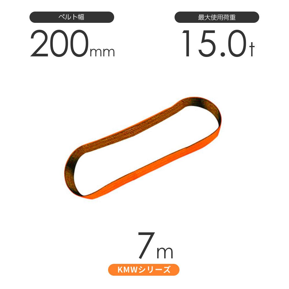 国産ナイロンスリング KMWシリーズ(1色) エンドレス形(N型)幅200mm×7m 使用荷重:15.0t 丸善織物