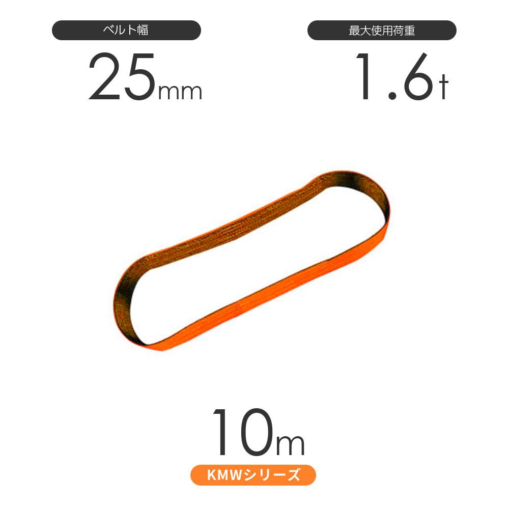 国産ナイロンスリング KMWシリーズ(1色) エンドレス形(N型)幅25mm×10m 使用荷重:1.6t 丸善織物