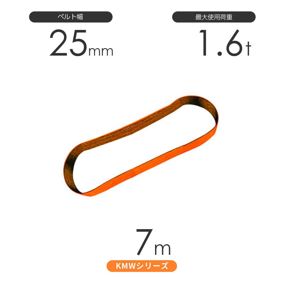 国産ナイロンスリング KMWシリーズ(1色) エンドレス形(N型)幅25mm×7m 使用荷重:1.6t 丸善織物