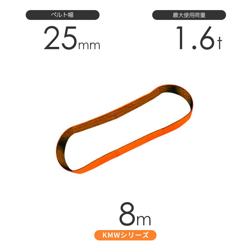 単色タイプのナイロンスリング 日本製 JIS規格3等級 国産ナイロンスリング KMWシリーズ 1色 エンドレス形 丸善織物 爆安 使用荷重:1.6t N型 直営ストア 幅25mm×8m