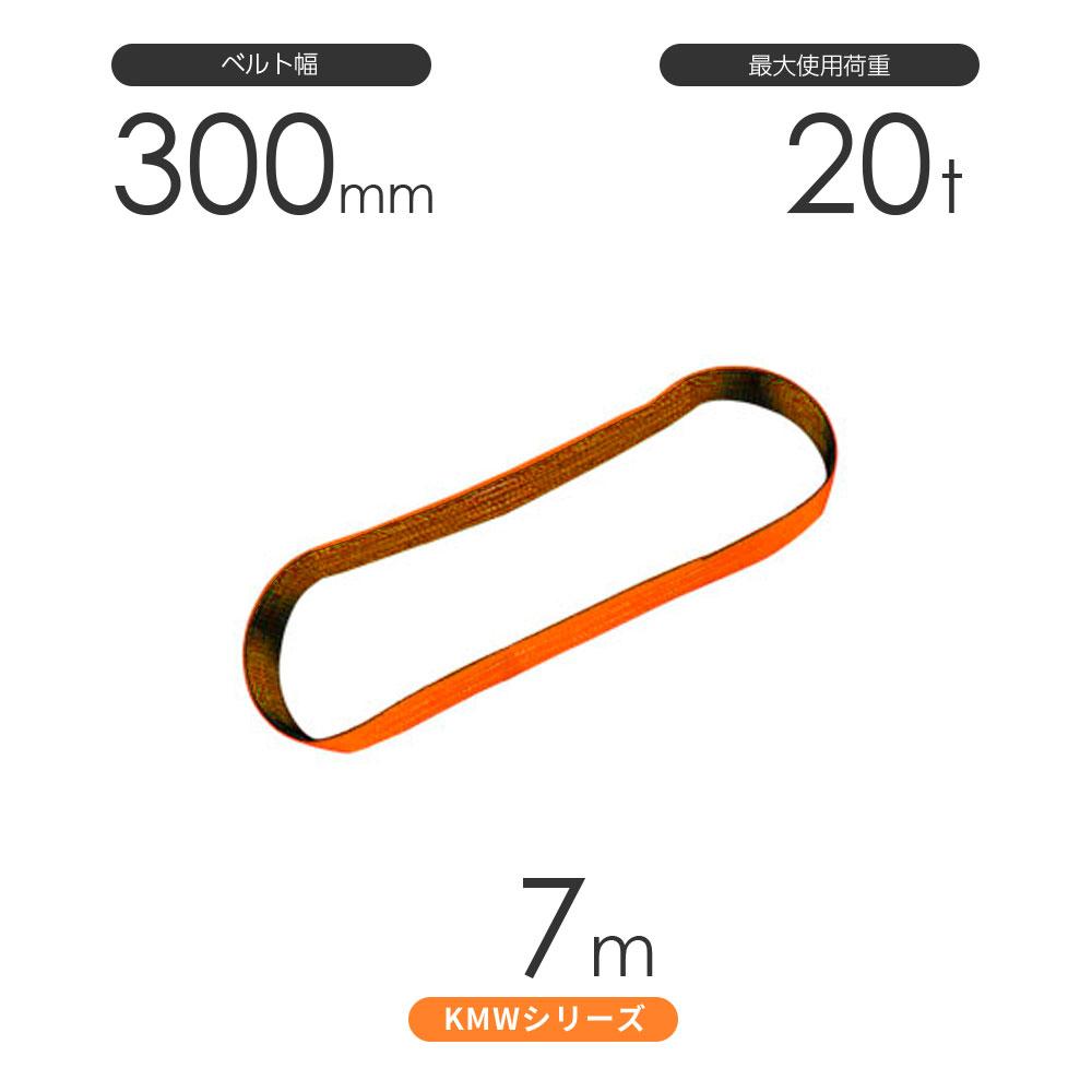 国産ナイロンスリング KMWシリーズ(1色) エンドレス形(N型)幅300mm×7m 使用荷重:20t 丸善織物