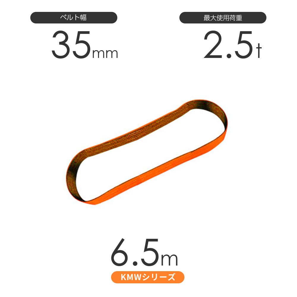国産ナイロンスリング KMWシリーズ(1色) エンドレス形(N型)幅35mm×6.5m 使用荷重:2.5t 丸善織物