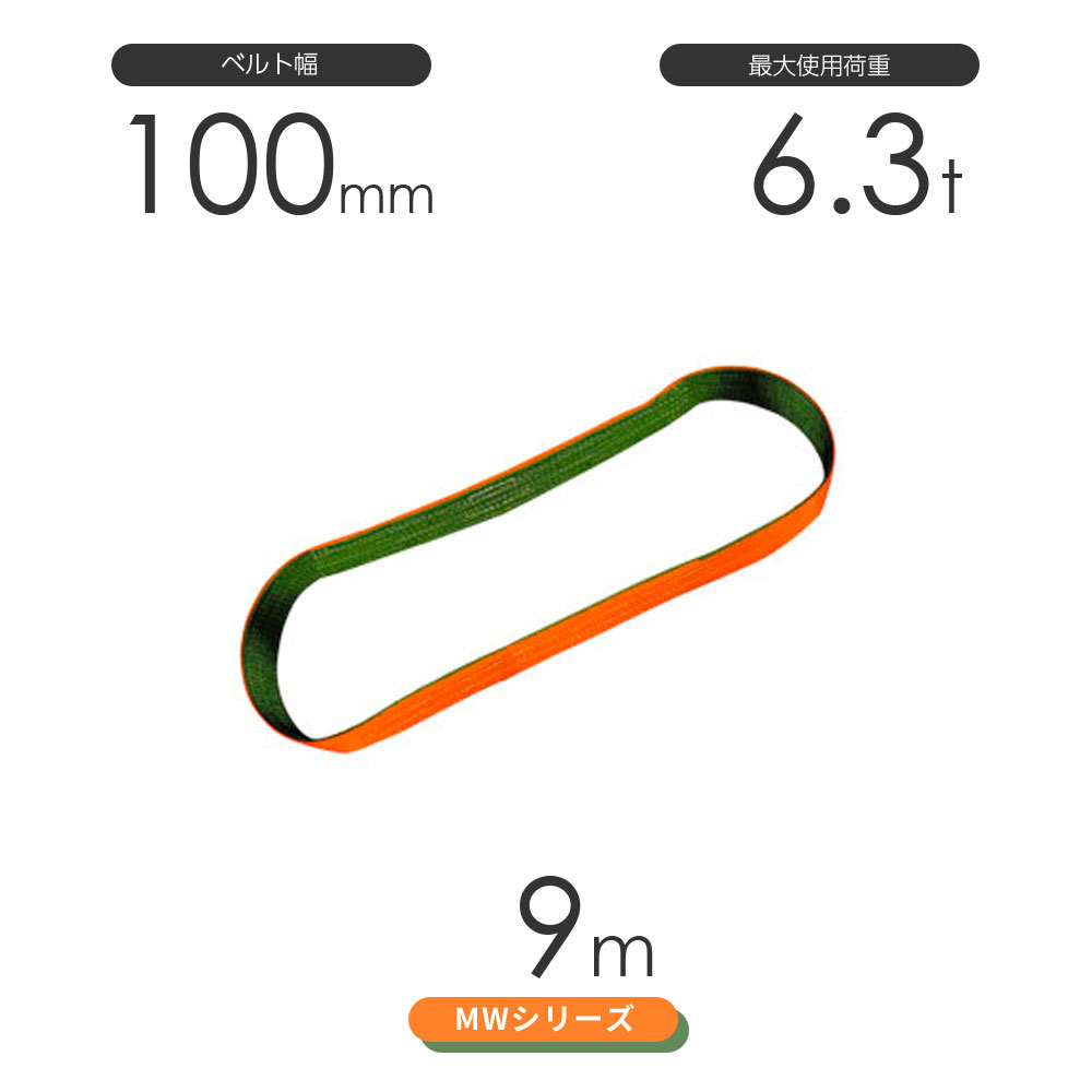国産ナイロンスリング MWシリーズ(2色) エンドレス形(N型)幅100mm×9m 使用荷重:6.3t 丸善織物