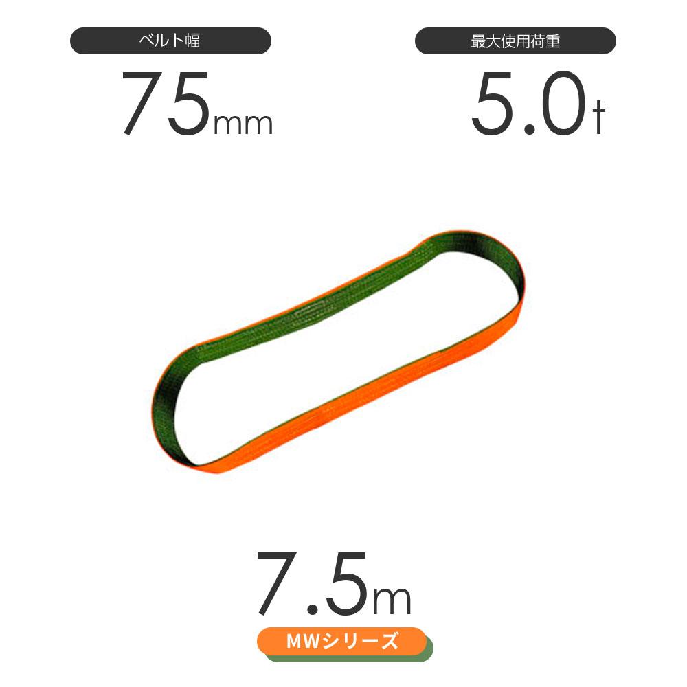 国産ナイロンスリング MWシリーズ(2色) エンドレス形(N型)幅75mm×7.5m 使用荷重:5.0t 丸善織物