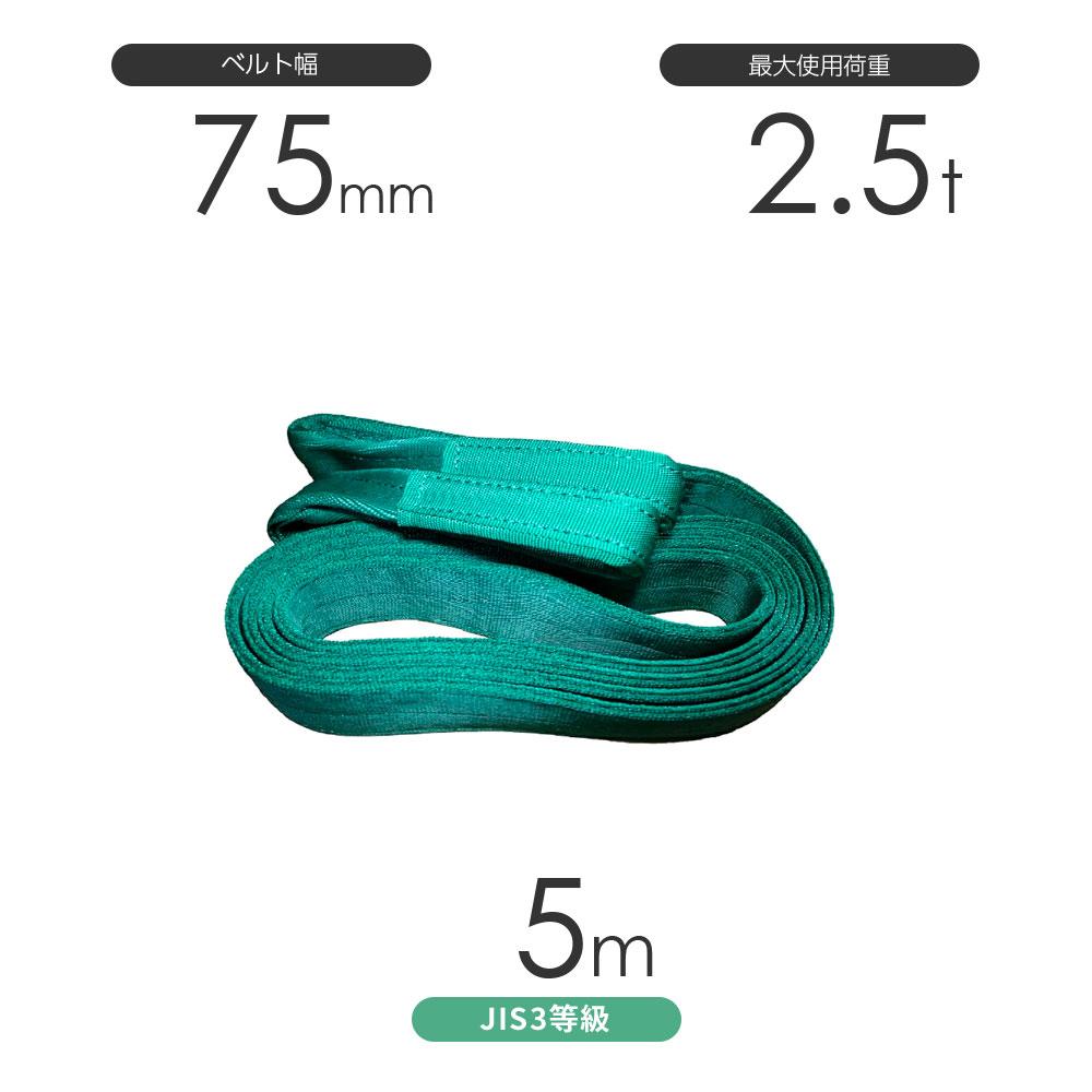 国産ポリエステルスリング AYスリング 両端アイ形(E型)幅75mm×5m 使用荷重:2.5t 緑色 ベルトスリング