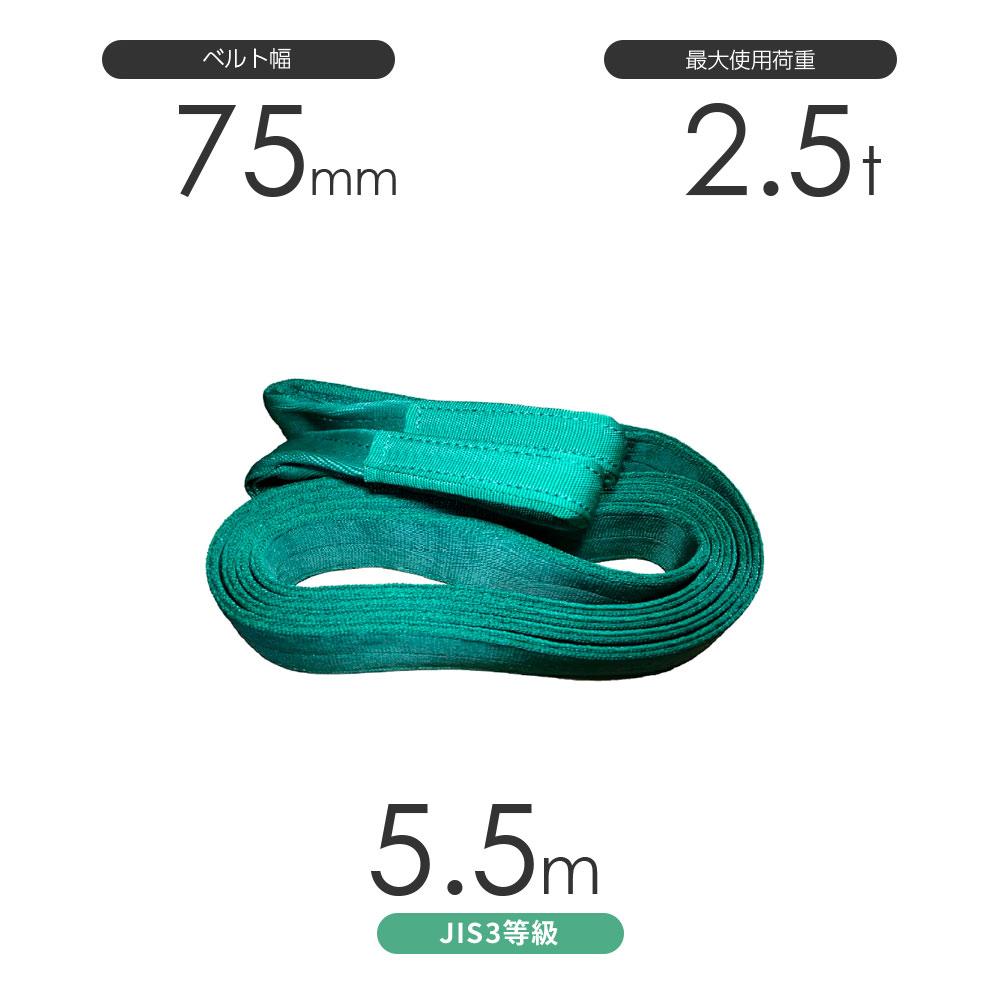 国産ポリエステルスリング AYスリング 両端アイ形(E型)幅75mm×5.5m 使用荷重:2.5t 緑色