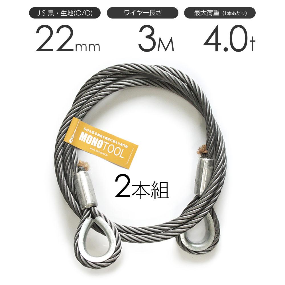 玉掛けワイヤーロープ 2本組 両シンブル 黒(O/O) 22mmx3m JISワイヤーロープ