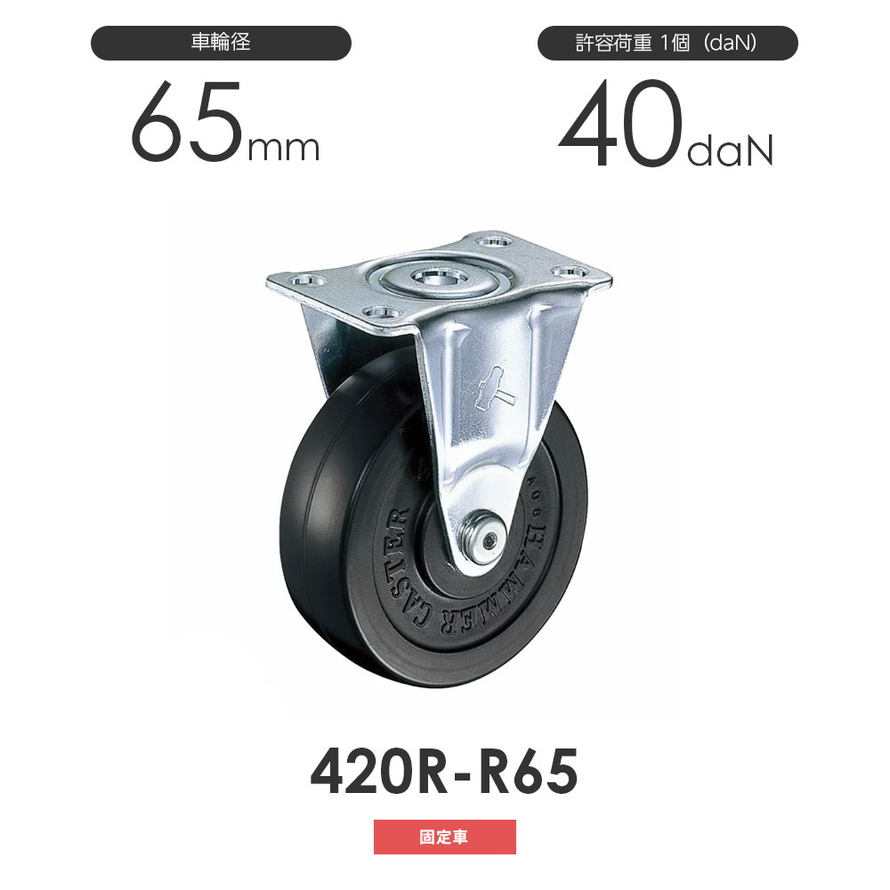 65mm 固定式 ゴム車輪 ハンマーキャスター 車輪径65mm 420R-R65 未使用品 固定車 業界No.1
