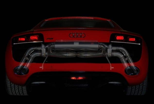 アウディ R8 4.2 V8 / スパイダー2007~2012・2013.3~2015ハイブリッドエキゾーストマフラーシステム/純正テール対応エキゾーストバルブ付Abflug/Power Craft
