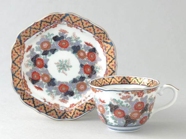 有田焼 染錦菊詰 コーヒー碗皿