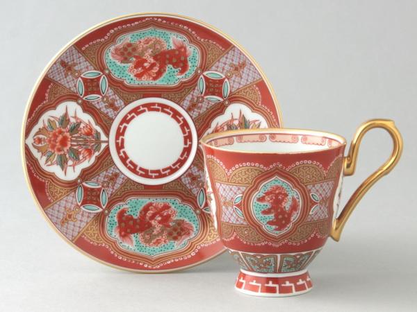 有田焼 赤濃木甲草花 コーヒー碗皿