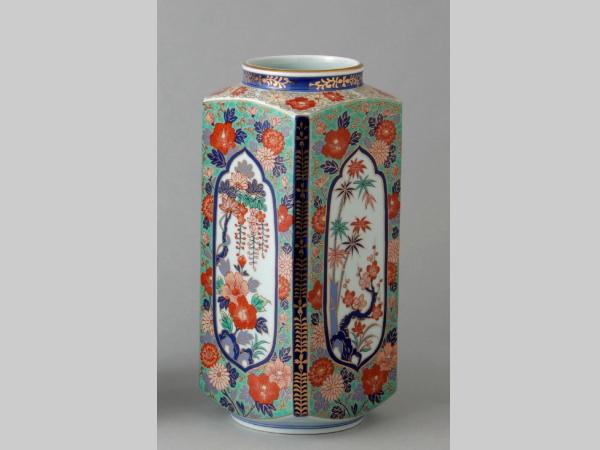 有田焼 芙蓉松竹梅 角切花瓶