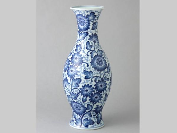 有田焼 染付古代菊 13寸細長花瓶