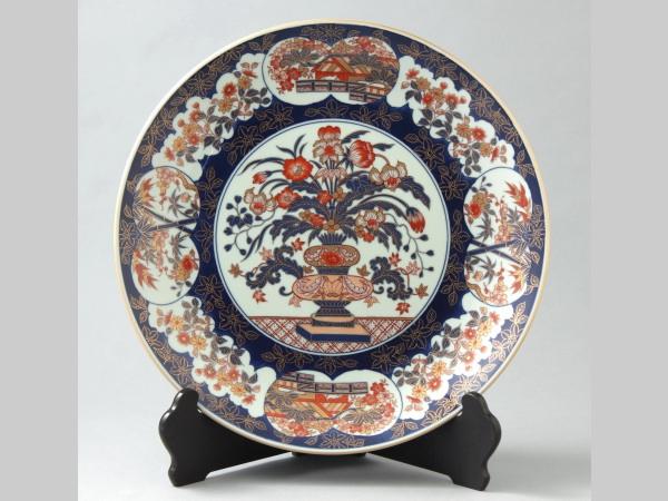 有田焼 極錦金彩花篭 飾皿 八寸