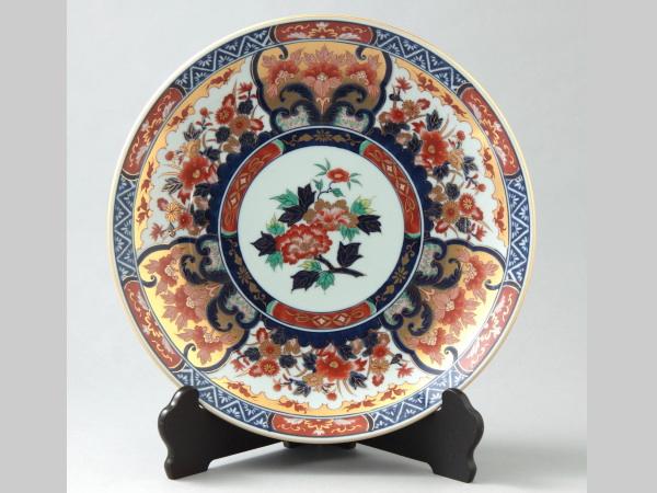 有田焼 金彩花模様 飾皿 36cm