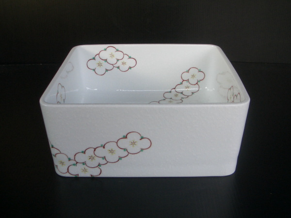 有田焼 花ツナギ(白吹き) 四角型手洗器(洗面ボウル) 置き型