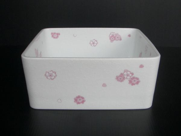 有田焼 白吹き錦さくら 四角型手洗器(手洗い鉢) 置き型