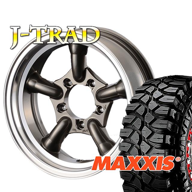 タイヤ ホイール 4本セット ファーム オリジナル J-TRAD DCリム ガンメタリック 16×5.5J/5H-25 マキシス クリーピークローラー 6.50 ( maxxis creepy crawler マッドテレイン )
