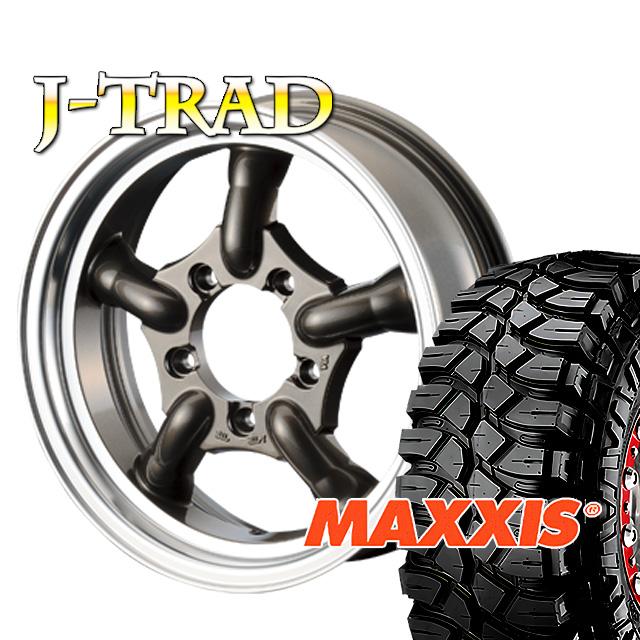 タイヤ ホイール 4本セット ファーム オリジナル J-TRAD DCリム ガンメタリック 16×5.5J/5H-25 マキシス クリーピークローラー 7.00 ( maxxis creepy crawler マッドテレイン )