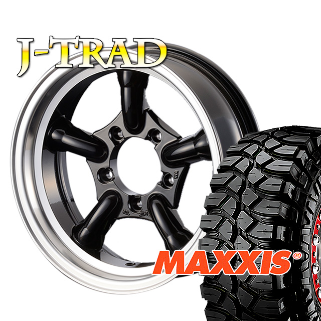 タイヤ ホイール 4本セット ファーム オリジナル J-TRAD DCリム グロスブラック 16×5.5J/5H-25 マキシス クリーピークローラー 7.00 ( maxxis creepy crawler マッドテレイン )