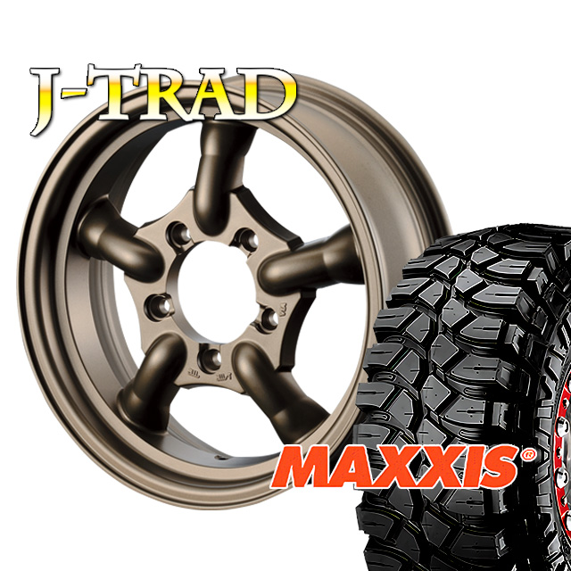 タイヤ ホイール 4本セット ファーム オリジナル J-TRAD マットブロンズ 16×5.5J/5H+20 マキシス クリーピークローラー 7.00 ( maxxis creepy crawler マッドテレイン )