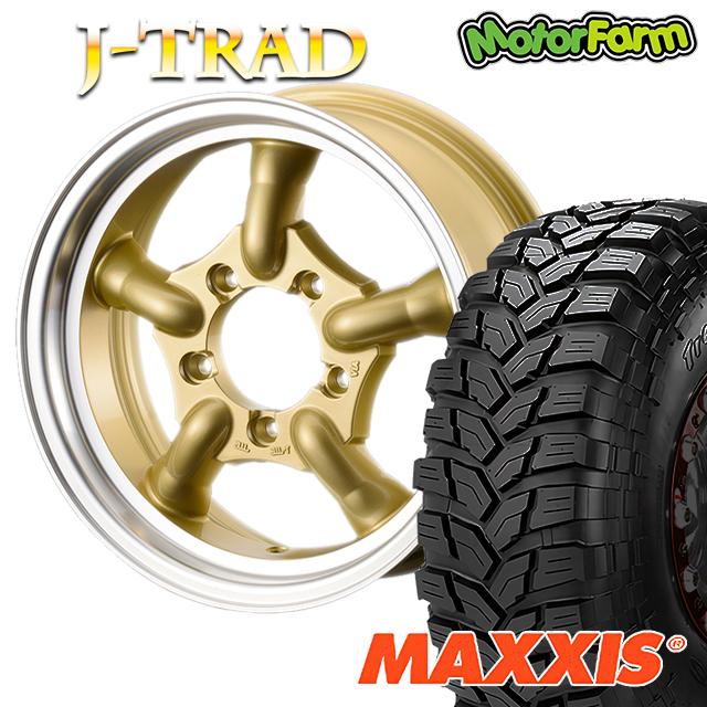 タイヤ ホイール 4本セット ファーム オリジナル J-TRAD DCリム ゴールド 16×5.5J/5H+20 マキシス トレパドール 185/85R16 ( maxxis trepador マッドテレイン M/T )