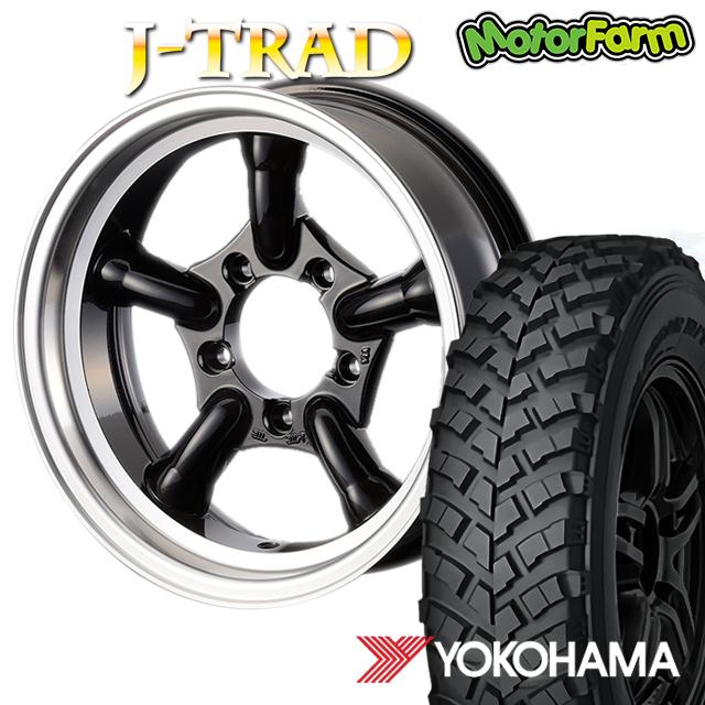 タイヤ ホイール 4本セット ファーム オリジナル J-TRAD DCリム グロスブラック 16×5.5J/5H-25 ヨコハマ ジオランダー MT+ ワイルドトラクション 7.00R16 ( yokohama wild traction マッドテレイン )