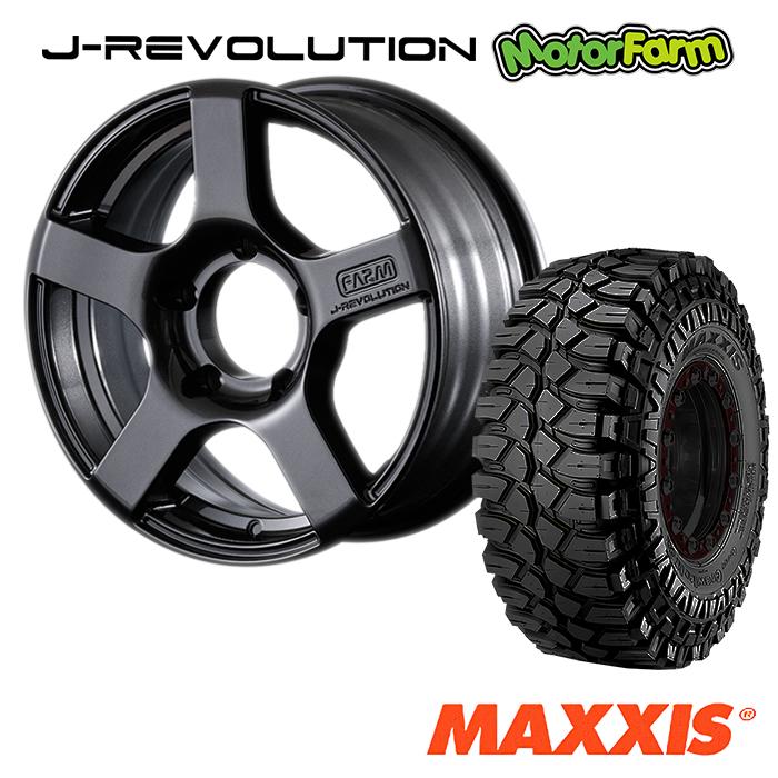 タイヤ ホイール 4本セット ファーム オリジナル J-REVOLUTION ガンメタリック 16×5.5J/5H+20 マキシス クリーピークローラー 6.50 ( maxxis creepy crawler マッドテレイン )