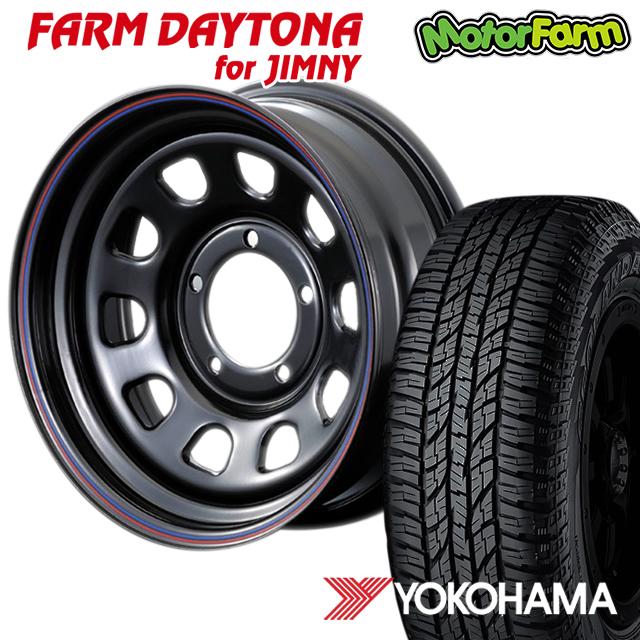 タイヤ ホイール 4本セット ファーム オリジナル FARM デイトナ 黒×赤青ライン 16×6J/5H-18 ヨコハマ ジオランダー A/T G015 185/85R16 ( yokohama geolandar オールテレイン )