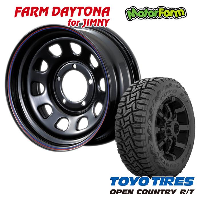 FARM デイトナ ブラック/レッド・ブルーライン 16x6J/5H-18 トーヨー オープンカントリー R/T 185/85R16 4本セット