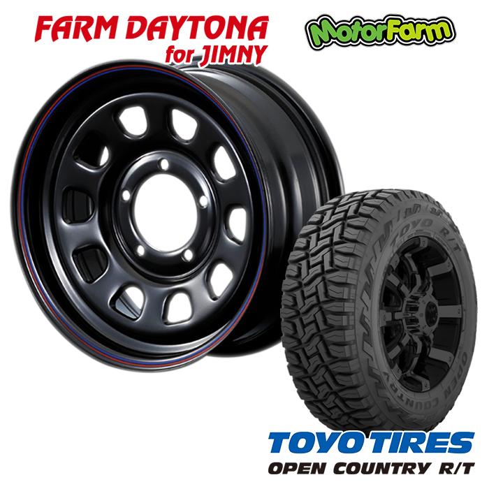 FARM デイトナ ブラック/レッド・ブルーライン 16x5.5J/5H+20 トーヨー オープンカントリー R/T 185/85R16 4本セット