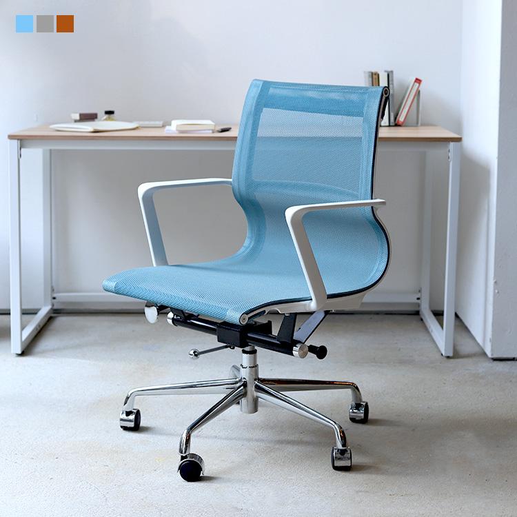 オフィスチェア デスクチェア ワークチェア メッシュ ブルー グレー オレンジ MTS-126 スプリングチェア