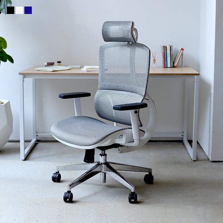 オフィスチェア デスクチェア ワークチェア メッシュ ブルー ホワイト ブラック リヴァー MTS-131