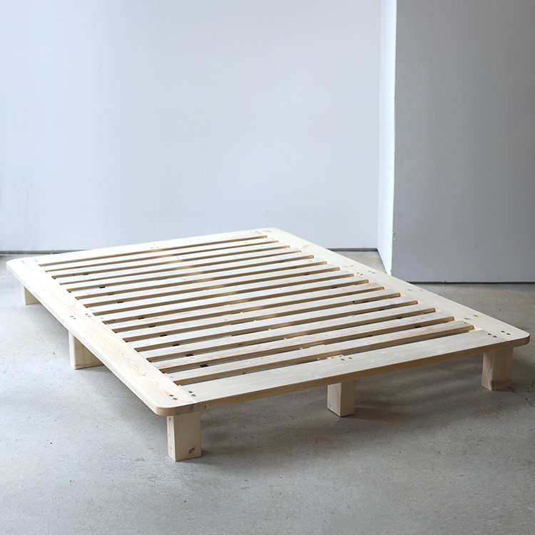 ベッド D 安い おしゃれ おすすめ 脚付き 木 通気性 天然木 ナチュラル ヘッドなし ヘッドボードなし 掃除しやすい ミニマル シンプル 木材 ベッドフレーム ダブル きしまない ヘッドレス 分解しやすい 木製 MTS-151 無垢材 お得なキャンペーンを実施中 セール すのこ 幅143cm W143