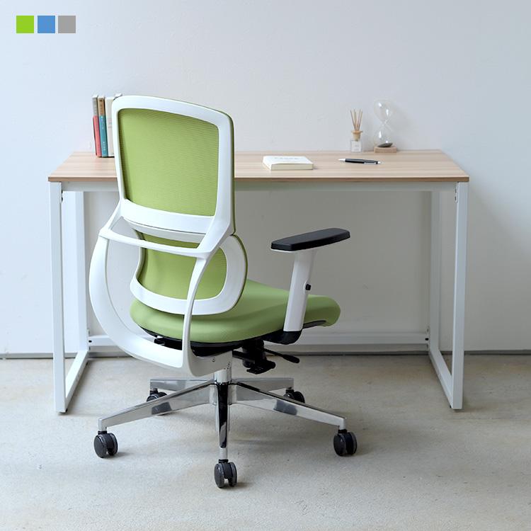 デスクチェア セット オフィスデスク MTS-110 WH 1台 オフィスチェア デスクチェア ワークチェア メッシュ ブルー グレー オレンジ MTS-127 リバーチェア 1脚【アウトレット】