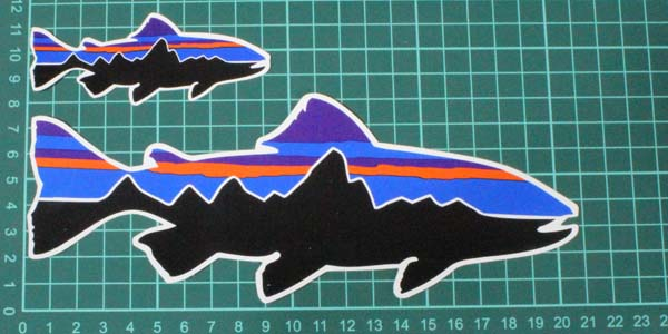 """Patagonia Fitz Roy Trout Fish Stickers 8"""" /& Small"""