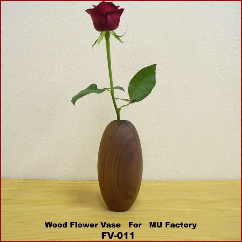 MU Factoryオリジナル/木製ウォールナット材のフラワーベースシリーズ[fv-011wa]花瓶 一輪挿し 花器 インテリア小物 置物