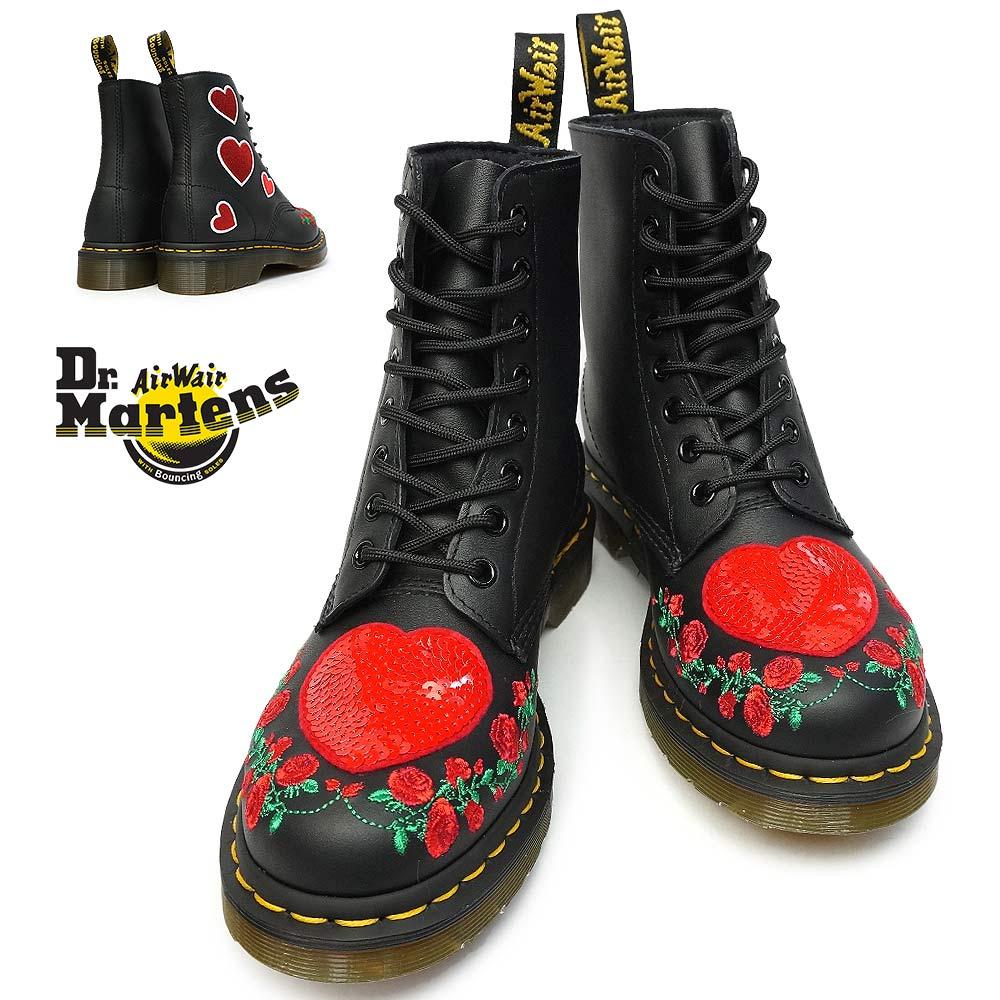 ドクターマーチン 8ホール ブーツ 1460 パスカル ハート レディース 正規品 24406001 ラウンドトゥ 薔薇 刺繍 Dr.Martens CORE APPLIQUE 1460 PASCAL HEARTS 8HOLE BOOTS