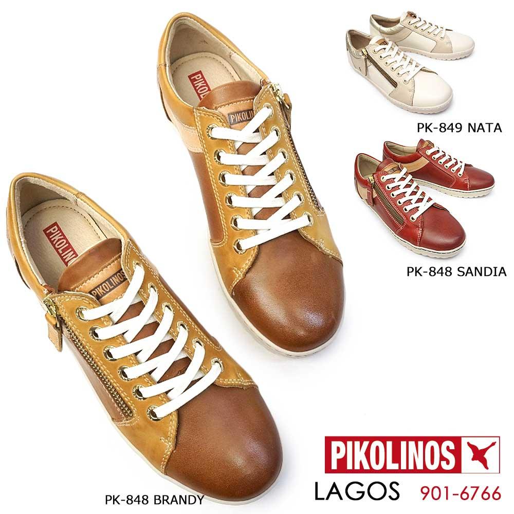 ピコリノス 靴 レディース スニーカー PK848 PK849 901-6766 レザー ホワイト ブラウン レッドブラウン PIKOLINOS LAGOS 本革 コンフォート ファスナー