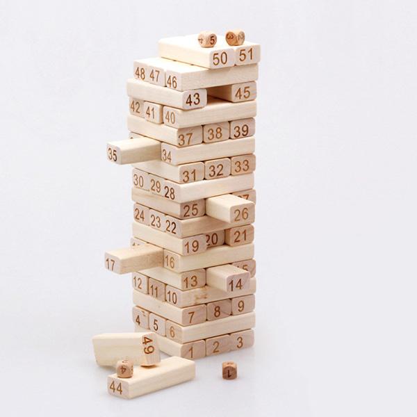 ジェンガ 積み木 51ピース 木製 知育玩具 子供 大人 おもちゃ 積み木 ドミノ ブロックとしても遊べる アンバランス 積木JMT-51PC