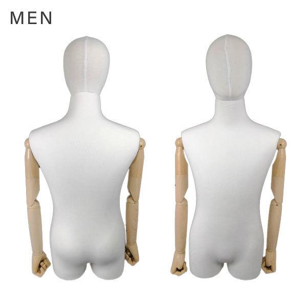 トルソー メンズ マネキン 男性 ハーフ ボディ 上半身 肩 腕 指 可動 木製 布張り ディスプレイ 店舗用品 撮影 展示 男性マネキンZY-R13