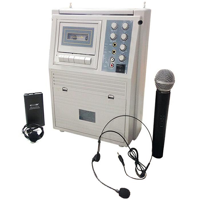 ワイヤレスマイクセット スピーカー ピンマイクセット アンプ内臓 4人同時使用可能 SDカード USB MP3プレイヤー インカム 会議 カラオケ スピーカー ワイヤレス ポータブルアンプ 充電式 カセット リモコン付属 拡声器 AK-668