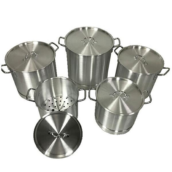 寸胴鍋 取手付 5サイズセット アルミ製 両手鍋 ストックポット 蒸し皿付き 厨房機器 業務用鍋 家庭用 鍋セット20-52QT