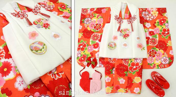七五三 新作 3歳女の子着物(被布コート)セット◆朱赤色系 雪輪に花◆sd5884