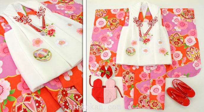 七五三 新作 3歳女の子着物(被布コート)セット◆朱赤色系 鞠に桜◆sd5885