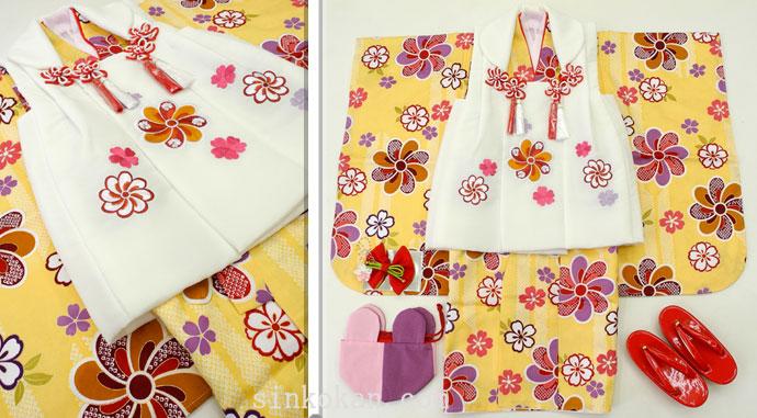 七五三 新作 3歳女の子着物(被布コート)セット◆黄色系 矢絣に花◆sd5889