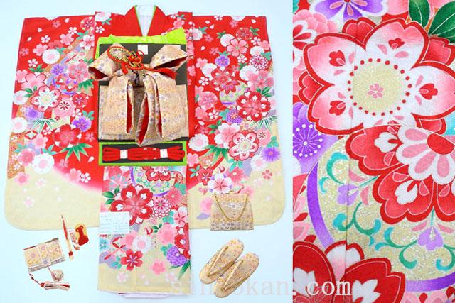 七五三 正絹7歳用女の子高級着物フルセット◆赤色系 鞠に桜◆sda007