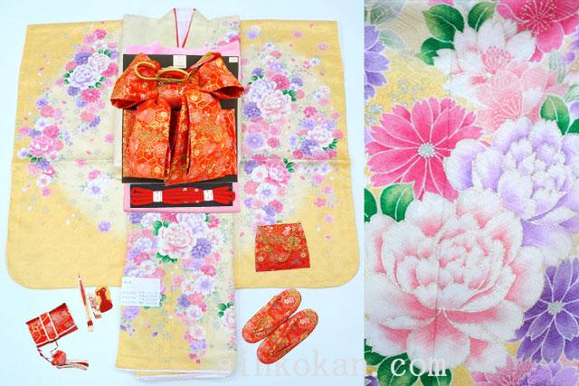七五三 正絹7歳用女の子高級着物フルセット◆黄クリーム系 花◆sda006