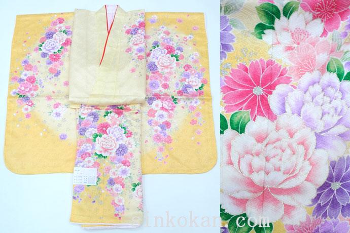 七五三 正絹7歳用女の子高級着物◆黄クリーム系 花◆sda006